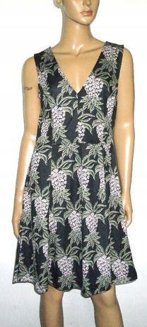 h&M sukienka w ananasy ananas czarna ciemnozielona rozkloszowana 42XL