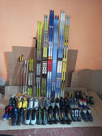 Беговые лыжи, палки, ботинки. (Fisher, Salomon, Nordway, Adidas)
