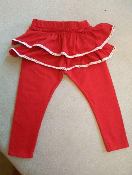 Czerwone legginsy 86 z koronką święta świąteczne