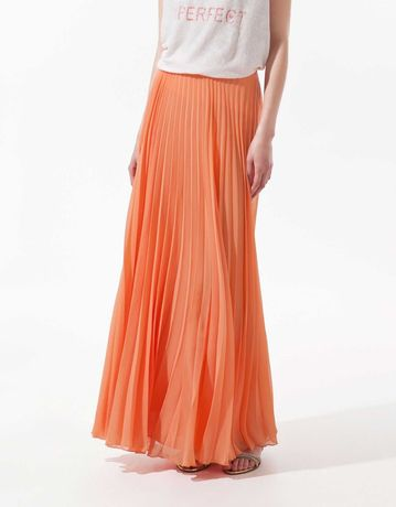 Spódnica ZARA maxi, plisowana, długa, kolor łososiowy, XS-34