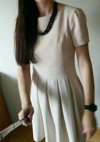 Kremowa sukienka orsay r.36 rozkoszowana
