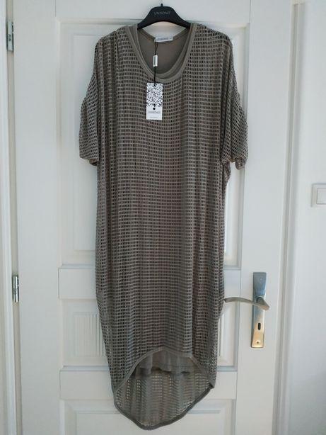 Sukienka ciążowa ażurowa długa 65 fango Unisono M/L NOWA