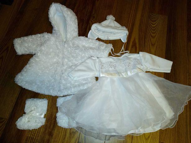 Ocieplany komplet do chrztu dla dziewczynki sukienka futerko r.74