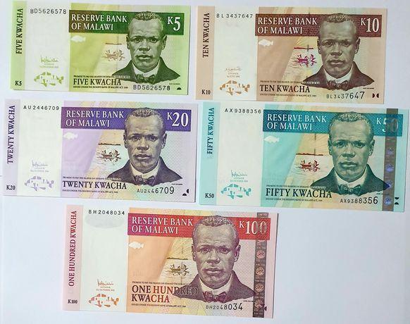 Banknoty MALAWI zestaw 5-100 UNC
