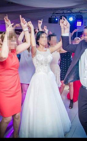 Suknia ślubna wyjątkowa gołe plecy błyszcząca POLECAM piękna