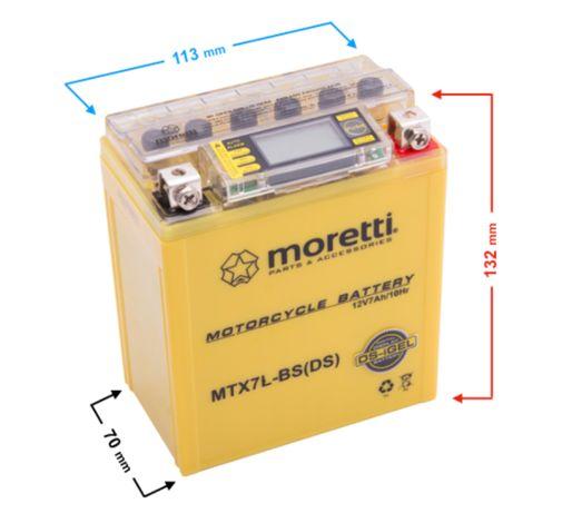 Akumulator motocyklowy Gel MTX7L-BS Moretti z wyświetlaczem LCD