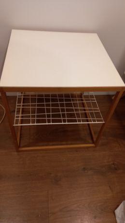 Mesa de apoio branca e madeira