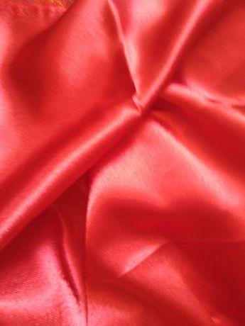 Атлас красный, отрез 65см + полоска 135см