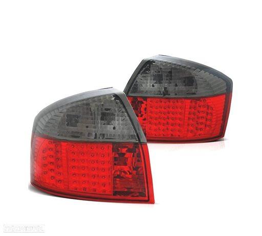 FAROLINS TRASEIROS LED AUDI A4 B6 00-04 VERMELHO / CINZA