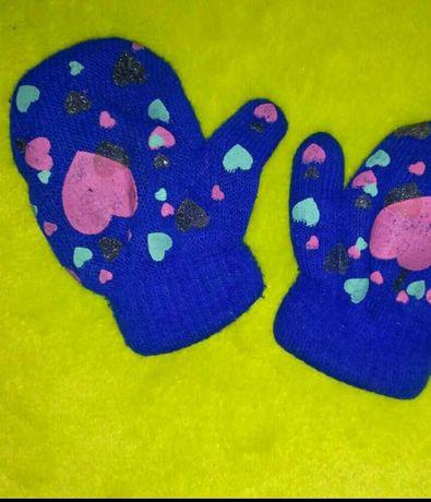 Варежки зимние, рукавицы, для девочки 2-3года, носки