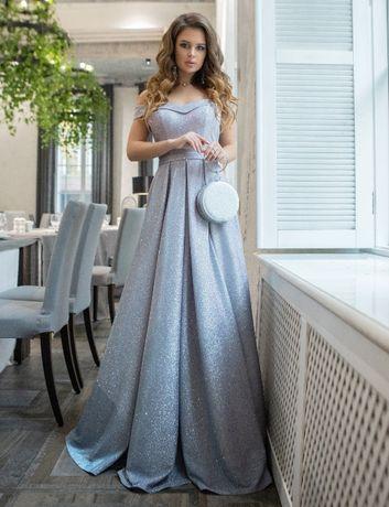 Вечернее, шикарное, праздничное, выпускное платье в пол. Р. 36.Серебро