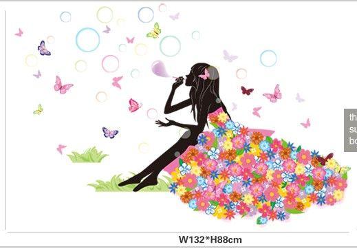 Весна Девочка Наклейка на стену,стекло в детскую комнату. БабочкиЦветы
