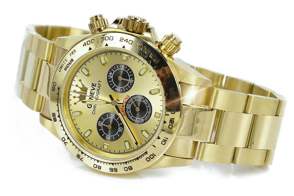 """Złoty 14k 585 męski zegarek 103g """"Rolex style WYJĄTKOWY mw014ydy2 B"""