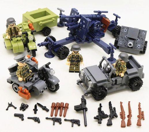 Фигурки немецких военных с зенитным орудием аналог лего Lego BrickArms