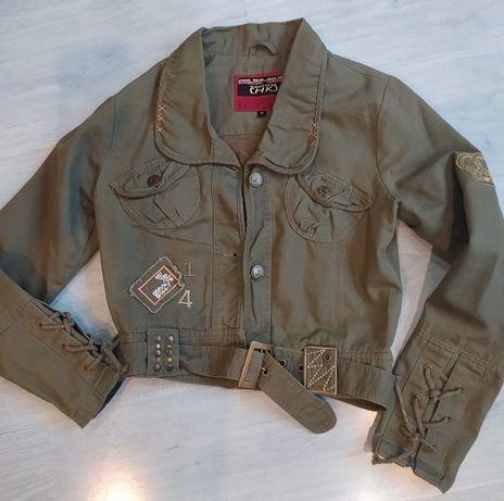 Женская укороченная джинсовая куртка. hk(польша)