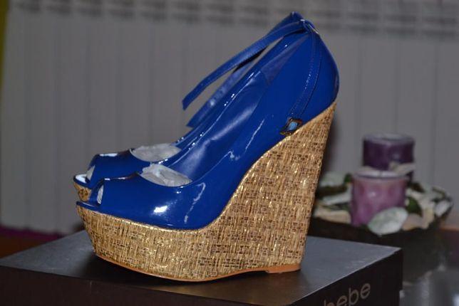Oryginalne buty na koturnie BEBE! Stan bardzo dobry!