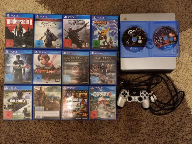 Продам срочно!!! PS 4 (1TB)+1геймпад+все диски