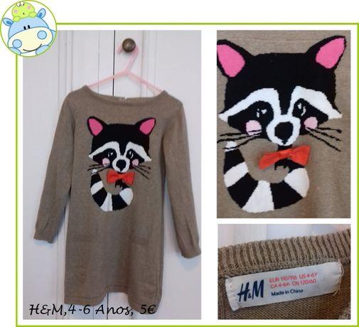 5-6Anos Menina Outono/Inverno - vestidos, camisa e blusão