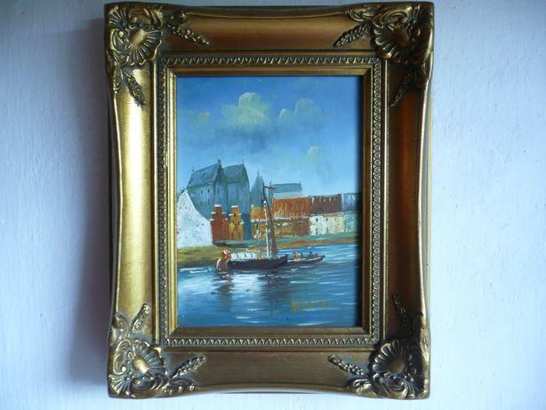 sygnowany obraz olejny zdobiona rama łodzie żaglówka zatoka