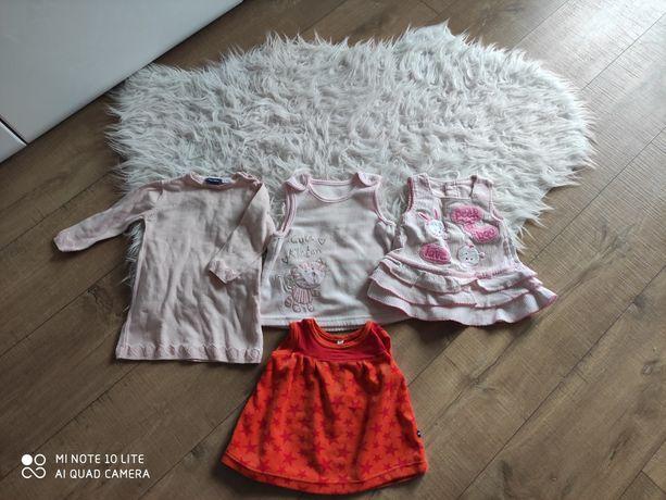 Zestaw ciepłych sukienek w rozmiarze 62/68, stan bardzo dobry