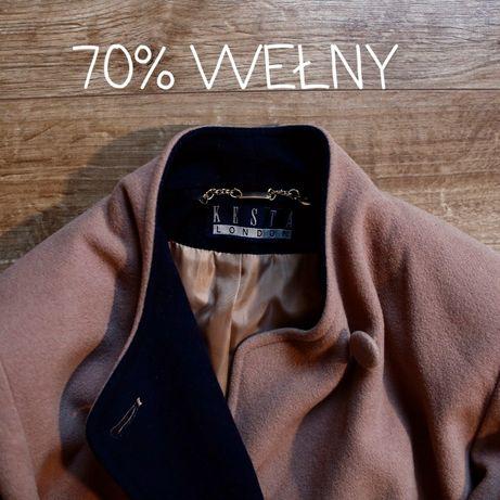 Wełniany kaszmirowy płaszcz beżowy karmelowy vintage kaszmir wełna 42