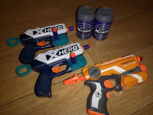 3 Pistolety : nerf i X hero