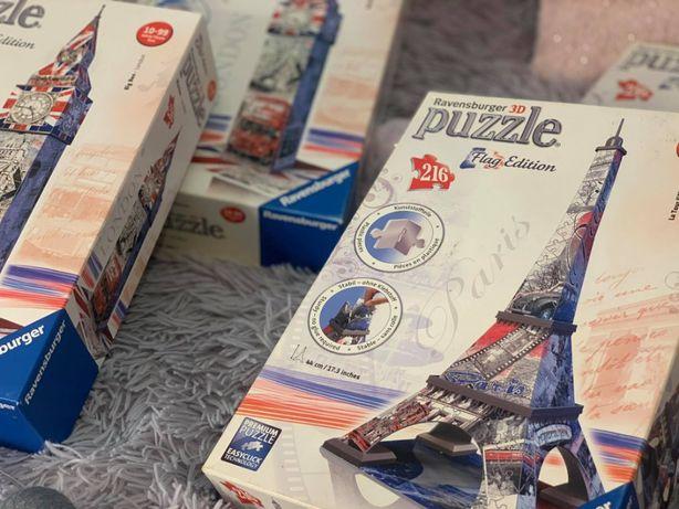 Puzzle 3D - BIG BEN, WIEŻA EIFFLA - JAK NOWE! - 4 sztuki