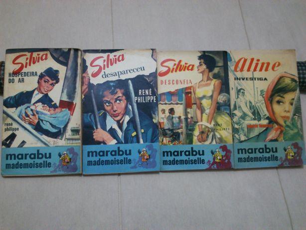 4 livros coleção Marabu mademoiselle Editora Uliseia, nºs 1, 4, 7, 12