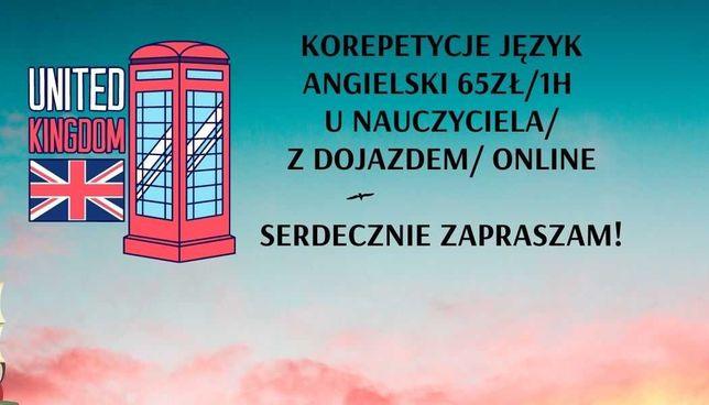KOREPETYCJE Język Angielski 65zł/1h u nauczyciela/z dojazdem/online
