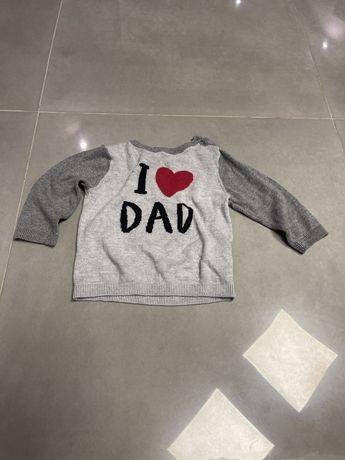 Sweter I Love Dad z sercem H&M rozm .74/80