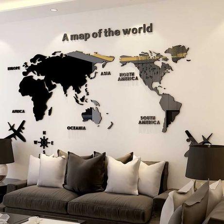 Mapa mundo 3D em acrílico
