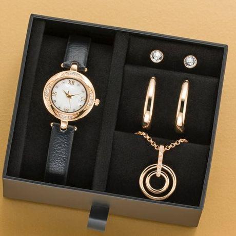 Relógio + Colar + 2 Pares Brincos Cristais swarovski
