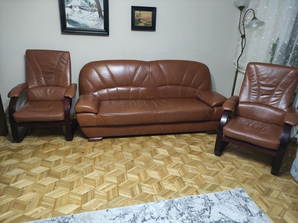 Kanapa skórzana fotele, wypoczynek