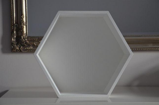 półka heksagon biała-duża