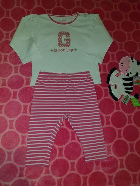 Komplet niemowlęcy 5-10-16, bluzka i leginsy, rozmiar 62