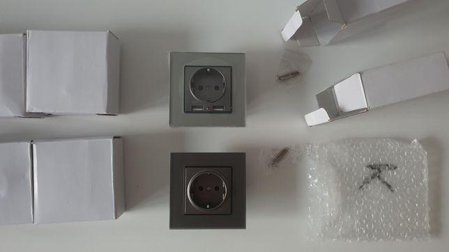 Nowe Szklane Kontakty , Gniazdka 2x USB 230v Szare