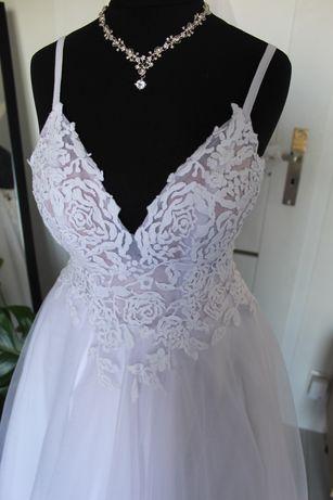 Suknia ślubna biała  tiulowa wyszywana gratis welon biżuteria okazja