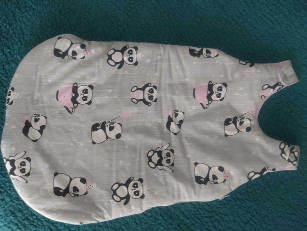 Śpiworek niemowlęcy szary w pandy