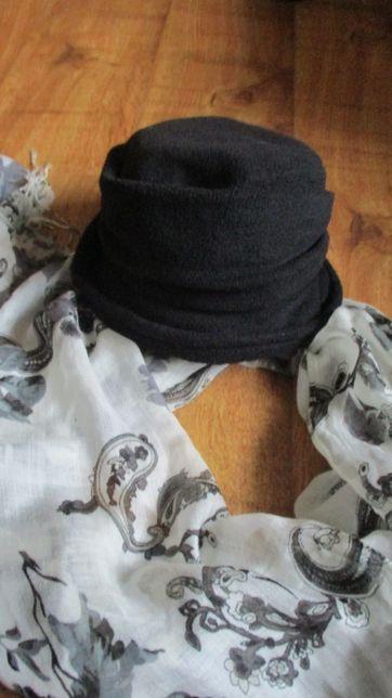 Czarny kapelusik ,czapka z polaru +apaszka