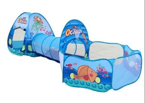 Zestaw 3W1 Zwierzęta Morskie Namiot Tunel Plac Zabaw Samorozkładający