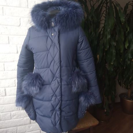 Куртка на девочку р.152 с рукавичками