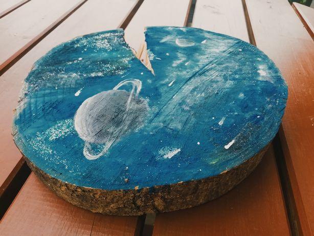 Obraz kosmosu na plastrze drewna, 27cm
