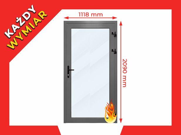 Drzwi Aluminiowe PPOŻ Sklepowe Zewnętrzne 1118 x 2090