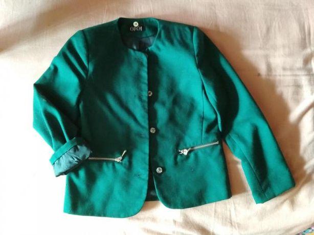 Пиджак школьный, зелёный, для стройной девочки