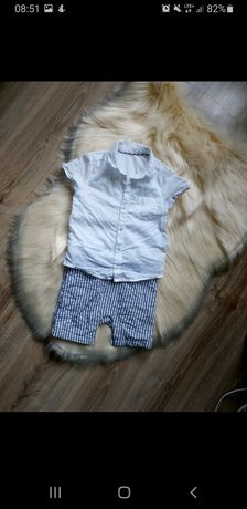 Rampers 92 98 Marks&Spancer koszula szorty spodenki elegancki komplet