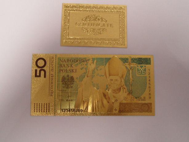 50 zł Jan Paweł II pozłacany banknot kolekcjonerski - certyfikat