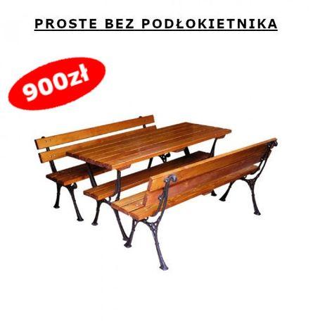 Drewniane Meble ogrodowe żeliwne, ławki ze stołem