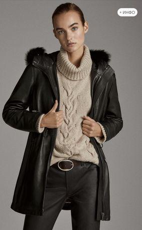Курточка кожаная на стеганной подкладке, пуховик Massimo Dutti, Kors,