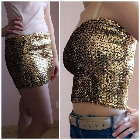 2w1 cekinowy top spodnica mini cekiny złota bluzka bez ramiączek