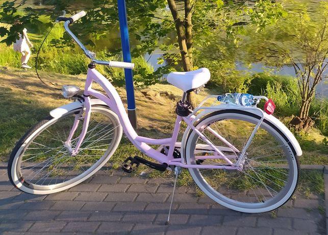 Damski różowy rower miejski